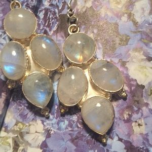Rainbow Moonstone Cabochon Earrings